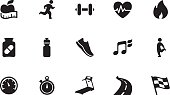 A collection of fitness icons, in various sizes and formats: