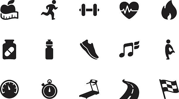 Fitness icons . Simple black A collection of fitness icons, in various sizes and formats: exercise machine stock illustrations