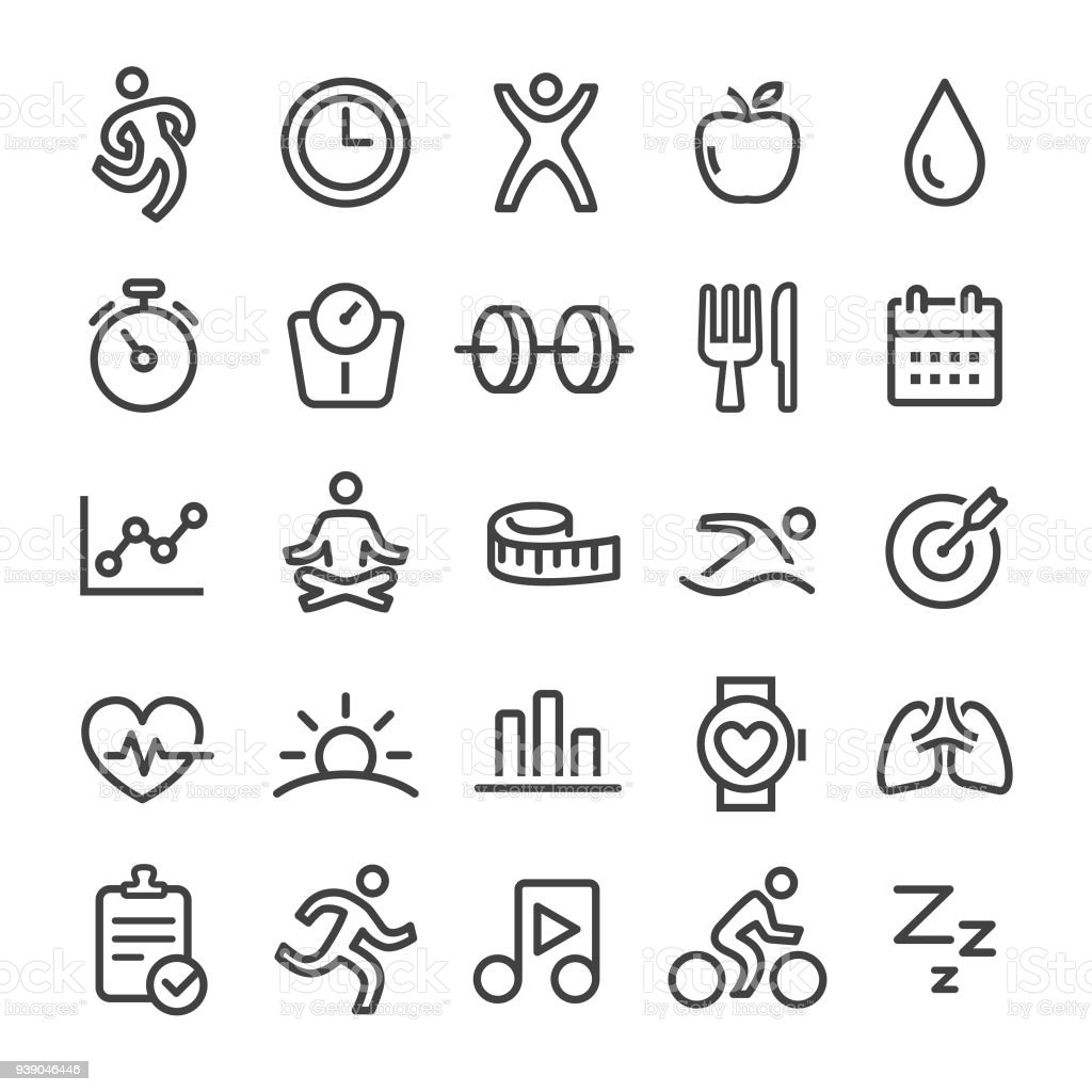 Fitness Icons - Slim Line serie - Royalty-free Activiteitentracker vectorkunst