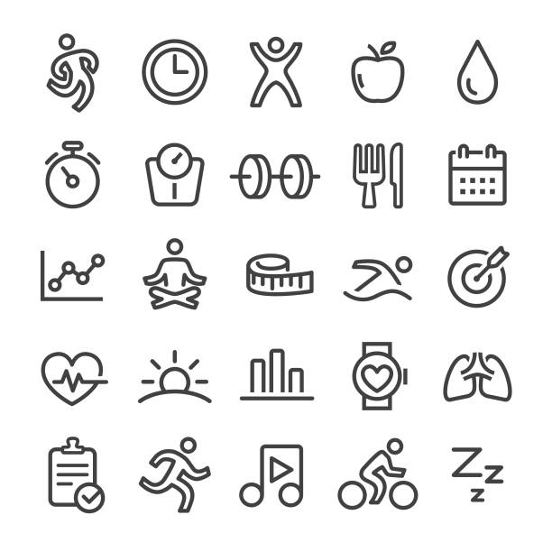 Fitness Icons - Smart Line Series Fitness, healthy lifestyle, exercising, dieting, gym, meditation stock illustrations