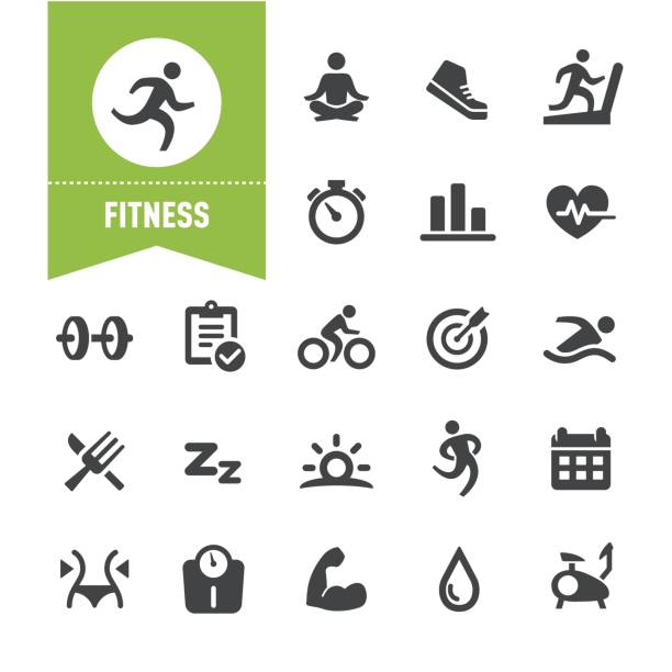 fitness icons - special series - wellness stock illustrations