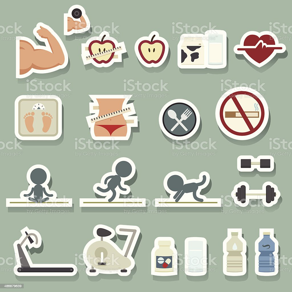 Fitness icons sticker royalty-free stock vector art