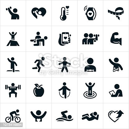 A set of fitness icons. The icons include exercising, lifting weights, meeting fitness goals, fitness equipment, running, healthy lifestyle, working out, cycling, swimming and other forms of exercise.