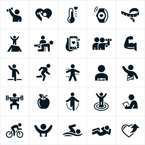 fitness icons - personal trainer stock illustrations, clip art, cartoons, & icons