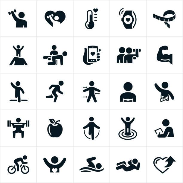 illustrazioni stock, clip art, cartoni animati e icone di tendenza di fitness icons - esercizio fisico