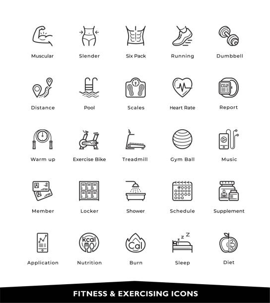 Fitness icons Fitness, Exercising, Gym, Healthy, Icons, Vector & Illustration exercise machine stock illustrations