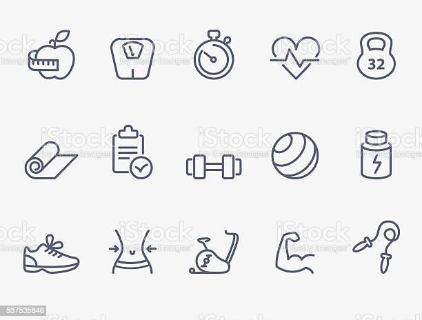 Fitness Icons Stockvectorkunst en meer beelden van Afvallen