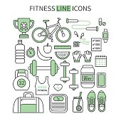 Fitness and sport thin line icons set. Modern flat linear vector icons.