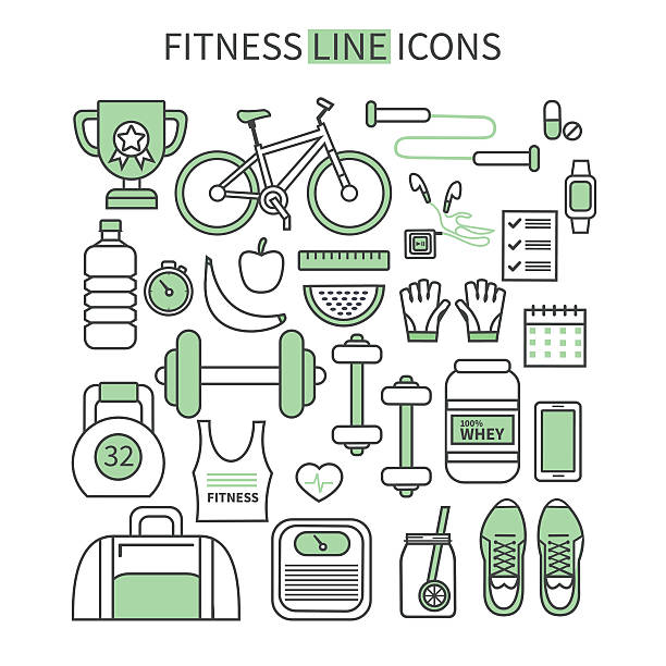 fitness icons - workout calendar stock illustrations, clip art, cartoons, & icons