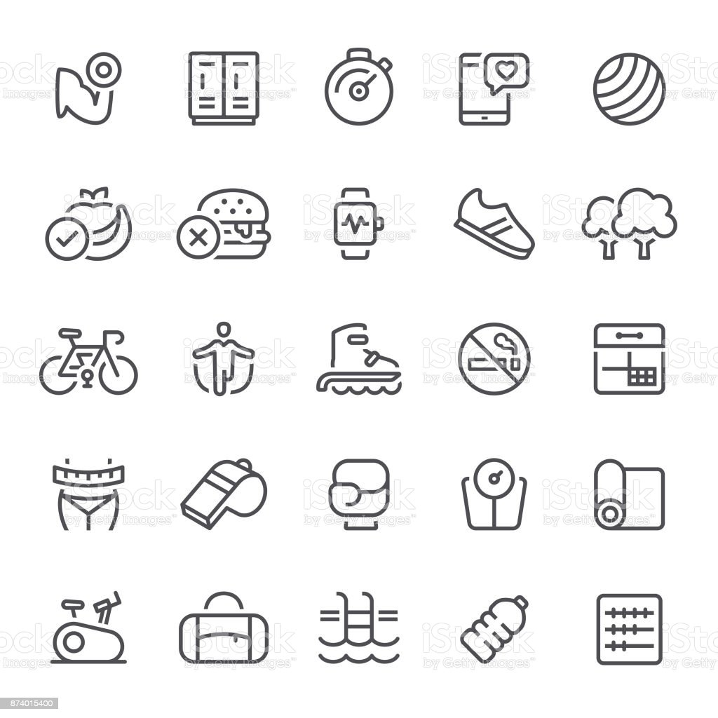 Iconos de ejercicios - ilustración de arte vectorial