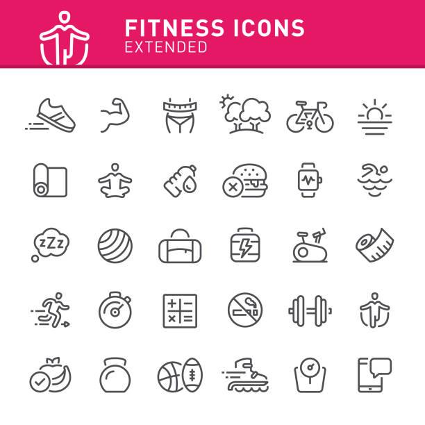 fitness-ikonen  - schuhe für sport und freizeit stock-grafiken, -clipart, -cartoons und -symbole