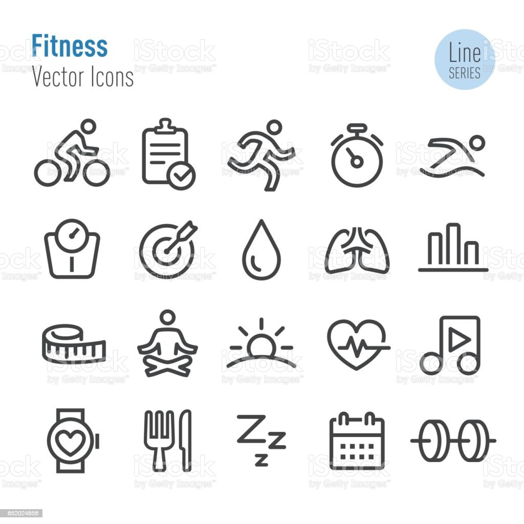 Fitness Icons - Vector Line Series vector art illustration