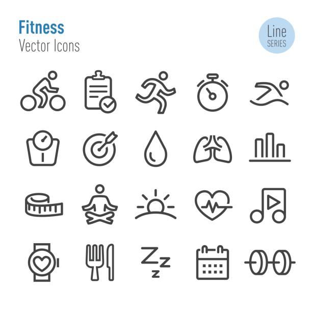 Fitness Icons - Vector Line Series vector art illustration
