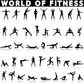 Fitness icons vector on a white background with a shadow