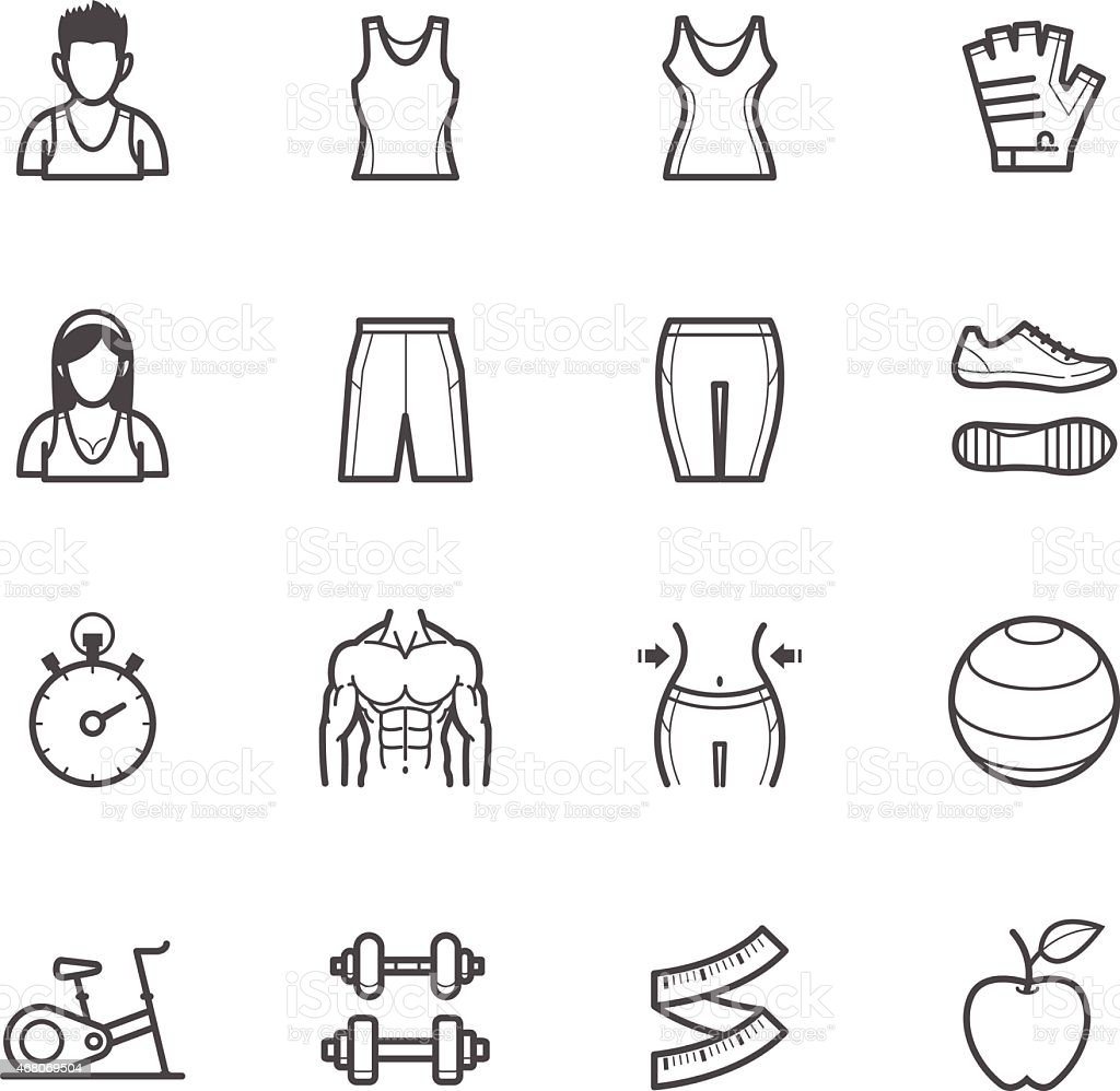 Fitness icons with equipment, clothing, and body shapes vector art illustration