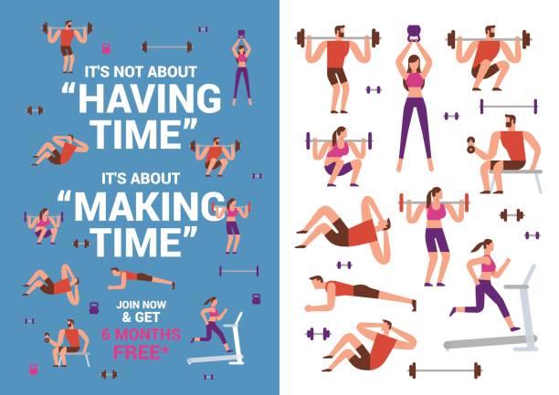 ilustraciones, imágenes clip art, dibujos animados e iconos de stock de ilustraciones de fitness - infografías demográficas