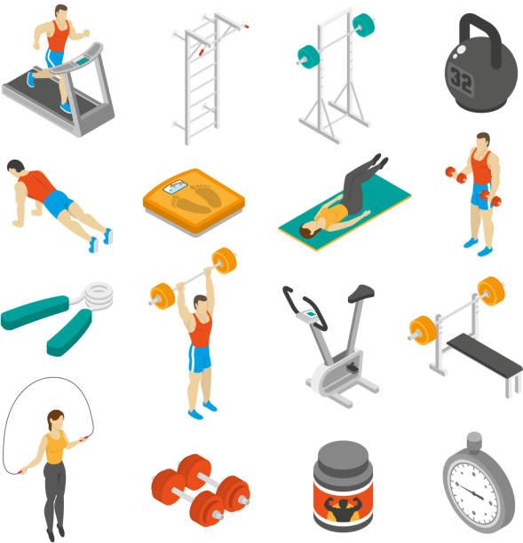Fitness isometrisch – Vektorgrafik