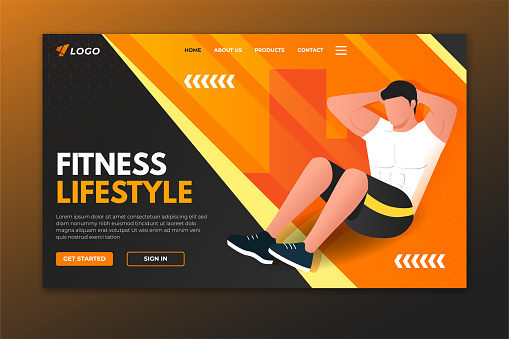 Fitness landing page with man doing crunches. Sport web page template design for gym, personal trainer and fitness center