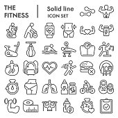 Fitness line icon set. Health care and sport signs collection, sketches, logo illustrations, web symbols, outline style pictograms package isolated on white background. Vector graphics