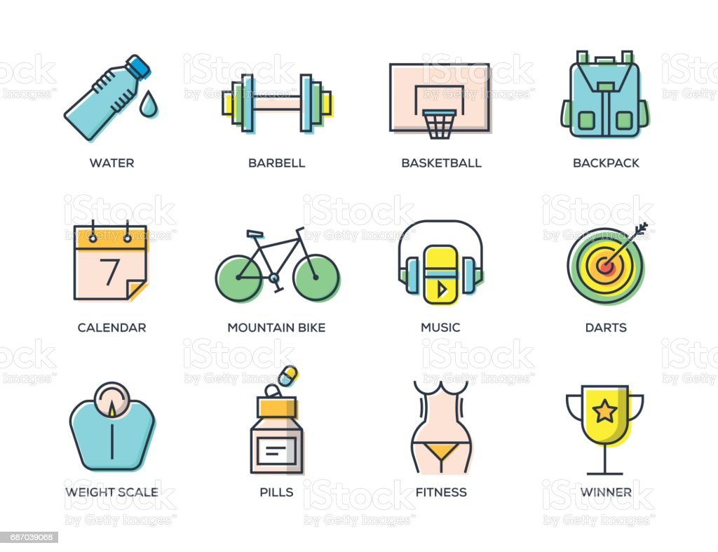 Fitness-Line-Icon-Set – Vektorgrafik