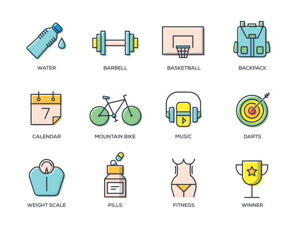 fitness line icon set - workout calendar stock illustrations, clip art, cartoons, & icons