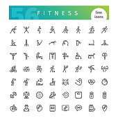 Set of 56 fitness line icons suitable for web, infographics and apps. Isolated on white background. Clipping paths included.