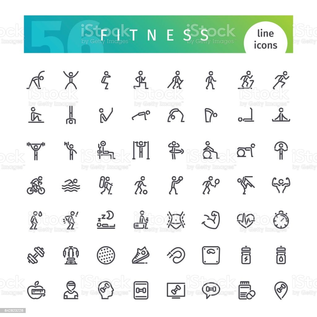 Remise en forme ligne Icons Set - Illustration vectorielle