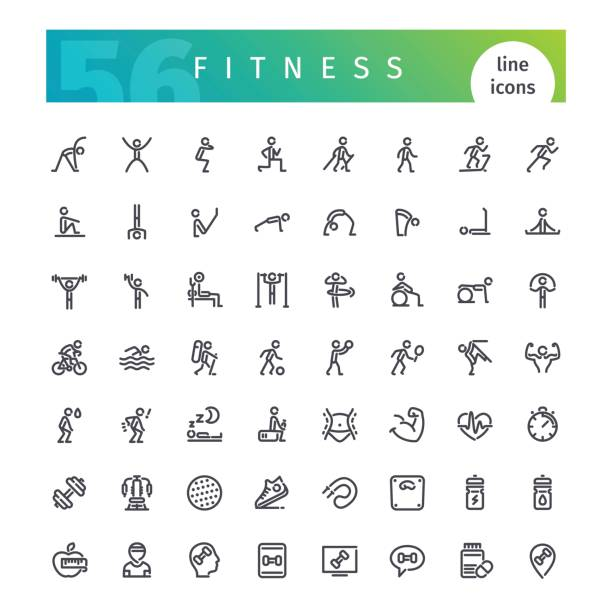 fitness line icons set - gymnastics stock illustrations, clip art, cartoons, & icons