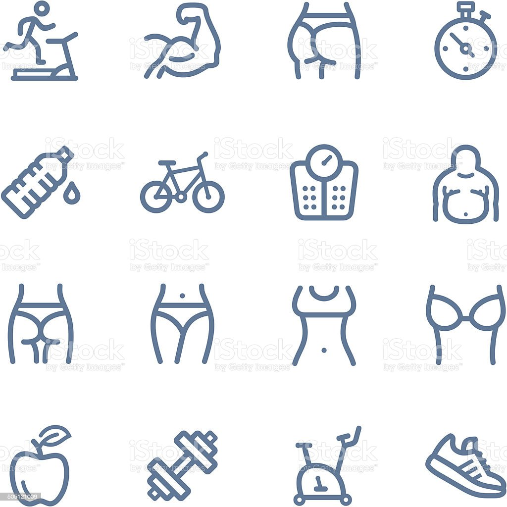 Fitness line icons vector art illustration
