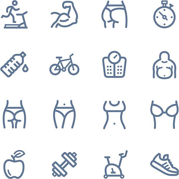 bildbanksillustrationer, clip art samt tecknat material och ikoner med fitness line icons - bum