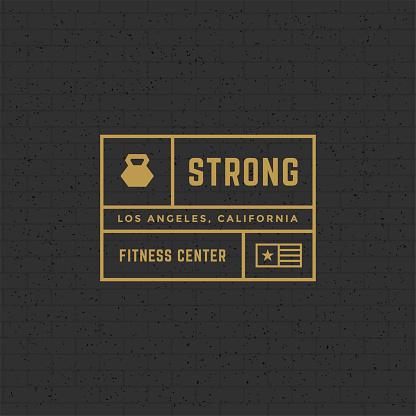 Fitness logo or badge vector illustration, kettlebell sport equipment symbol silhouette