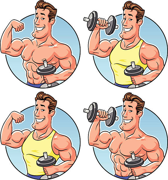 fitness logo - cartoon muscle arms stock illustrations, clip art, cartoons, & icons