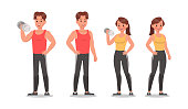 istock Fitness man and woman doing exercise character vector design. Healthy lifestyle 1091146056