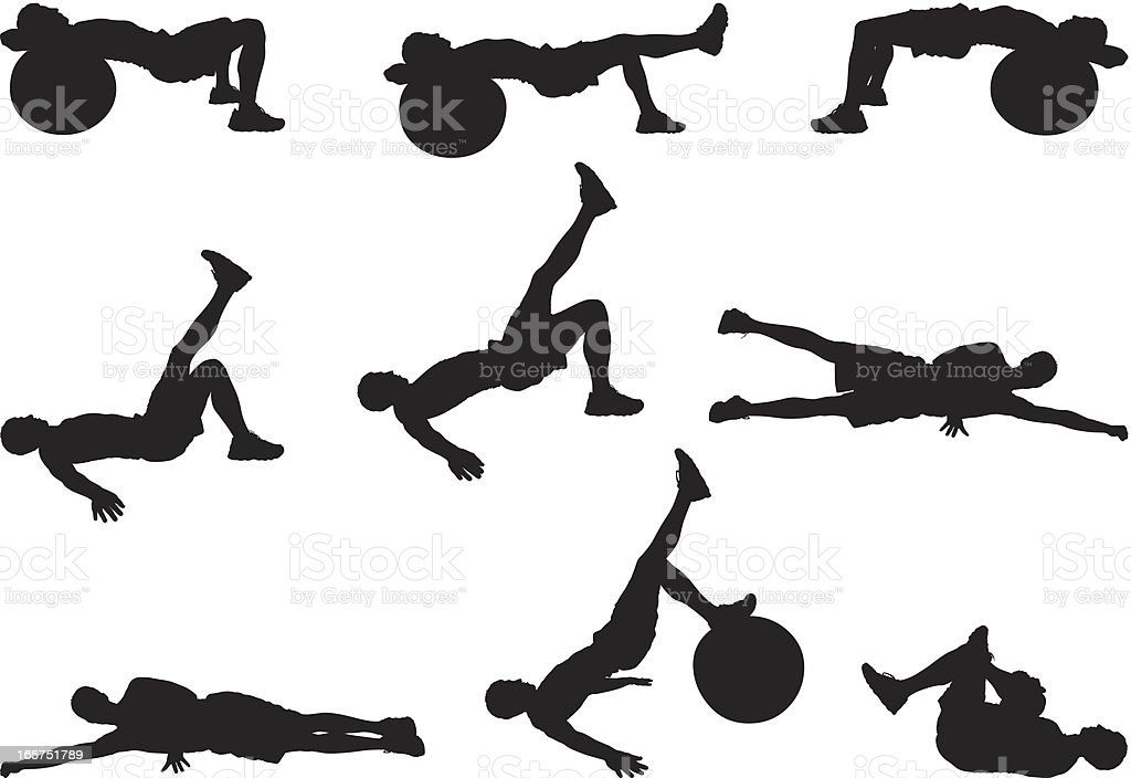 Fitness man doing his ab workout royalty-free stock vector art