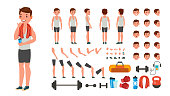 Fitness Man Vector. Animated Athlete Character Creation Set. Full Length, Front, Side, Back View, Accessories, Poses, Face Emotions, Various Hairstyles Gestures Isolated Cartoon Illustration