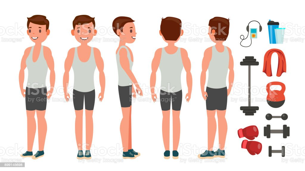 Fitness adam vektör. Farklı pozlar. Yaşam tarzı tasarım. Egzersiz ve atlet. Düz çizgi film karakteri illüstrasyon izole vektör sanat illüstrasyonu