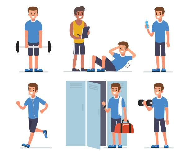 fitness man - personal trainer stock illustrations, clip art, cartoons, & icons