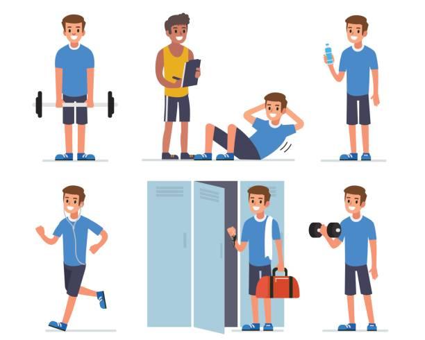 ilustrações, clipart, desenhos animados e ícones de homem de fitness - personal trainer
