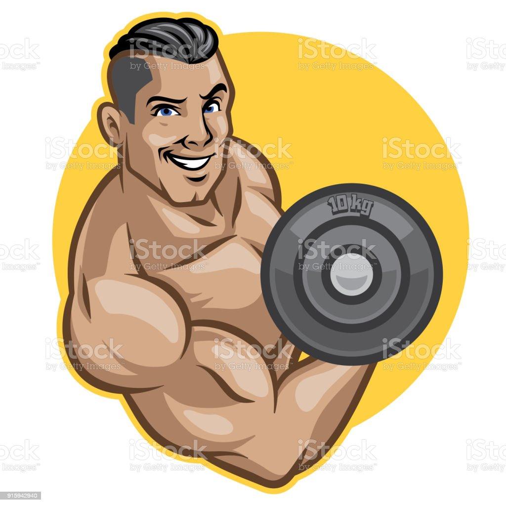 fitness men lifts barbell vector art illustration