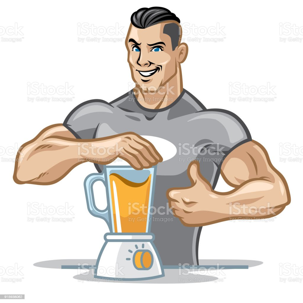 fitness men preparing his healthy meal by using blender vector art illustration