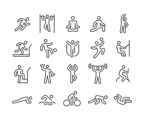 fitness-methoden-icons - classic line serie - meditation icon stock-grafiken, -clipart, -cartoons und -symbole