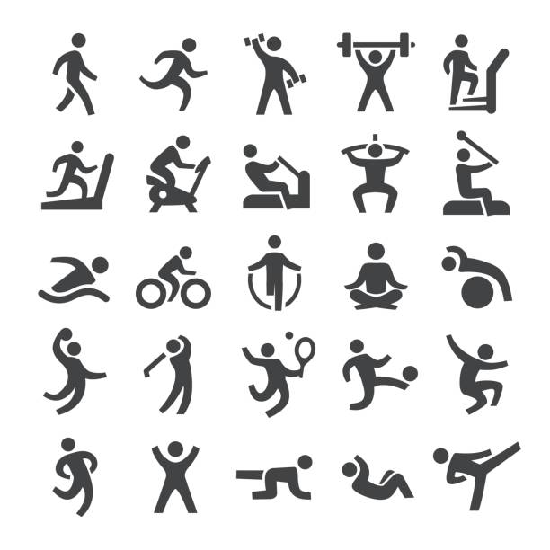 stockillustraties, clipart, cartoons en iconen met fitness methode icons - smart serie - activiteit bewegen