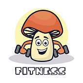 fitness mushroom cartoon character. vector illustration