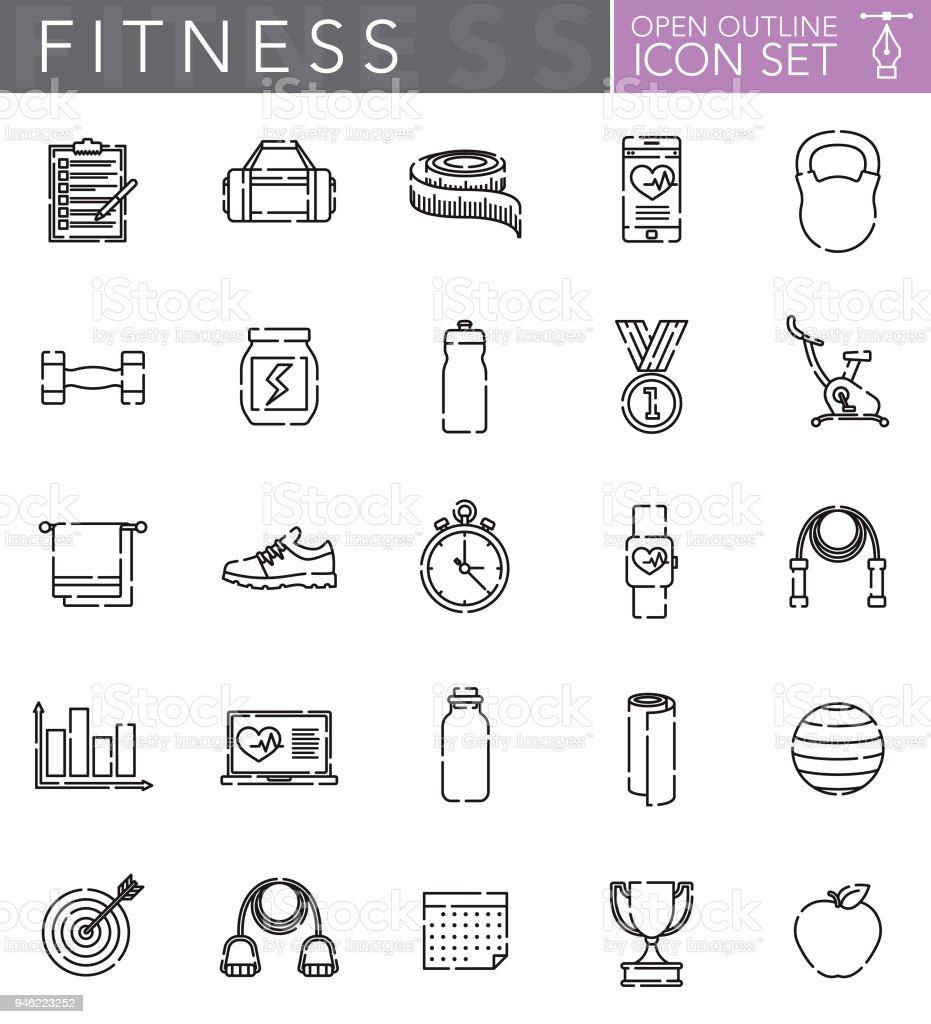 Conjunto de iconos de fitness contorno abierto - ilustración de arte vectorial