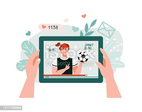 istock Fitness or sport blog with sport trainer flat vector illustration isolated. 1277156995