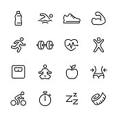 16 line black and white icons / Set #19