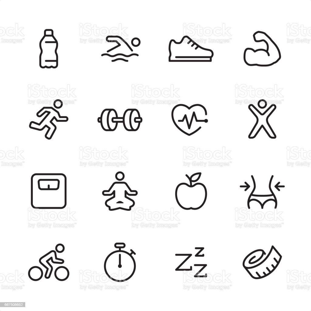 Fitness - outline icon set vector art illustration