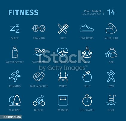 Sport and Fitness - 20 three-color outline icons with captions / Pixel Perfect Set #14 / Icons are designed in 48x48pх square, outline stroke 2px.  First row of outline icons contains: Sleep, Training, Diet, Sports Shoe, Muscular;  Second row contains: Water Bottle, Swimming, Pulse Trace, Yoga, Spa;  Third row contains: Running, Tape Measure, Waist, Fruit, Gym;  Fourth row contains: Walking, Bicycle, Weights, Stopwatch, Swimming Pool.  Complete Captico icons collection - https://www.istockphoto.com/collaboration/boards/L98ewPMHpUStg1uF0pmcYg