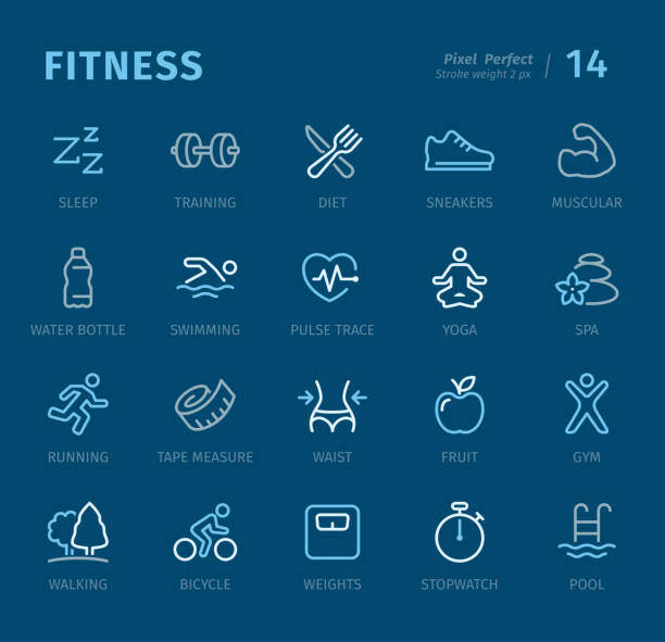 Fitness - Outline icons with captions Sport and Fitness - 20 three-color outline icons with captions / Pixel Perfect Set #14 / Icons are designed in 48x48pх square, outline stroke 2px.  First row of outline icons contains: Sleep, Training, Diet, Sports Shoe, Muscular;  Second row contains: Water Bottle, Swimming, Pulse Trace, Yoga, Spa;  Third row contains: Running, Tape Measure, Waist, Fruit, Gym;  Fourth row contains: Walking, Bicycle, Weights, Stopwatch, Swimming Pool.  Complete Captico icons collection - https://www.istockphoto.com/collaboration/boards/L98ewPMHpUStg1uF0pmcYg weight loss stock illustrations