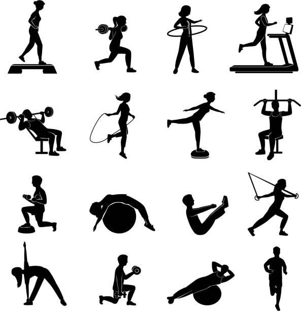 fitness people icons black - waga opis fizyczny stock illustrations